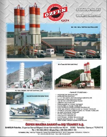 Özfen Makina, Hazır Beton Dergisi Şubat 2016 Yayını 133. Sayısı 65. Sayfada!