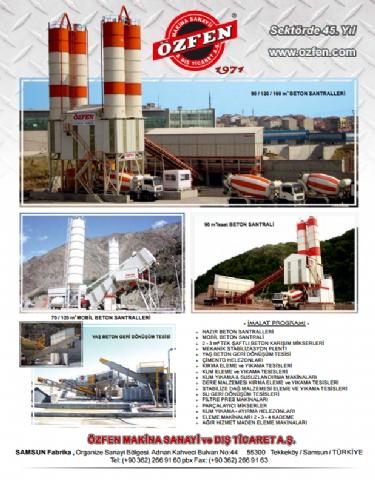 Özfen Makina, Hazır Beton Dergisi Mayıs - Haziran 2016 Yayını 135. Sayısı 37. Sayfada!