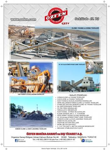 Özfen Makina, Madencilik Türkiye Dergisi 1 Eylül 2018 Yayını 73. Sayısı 83. Sayfada!