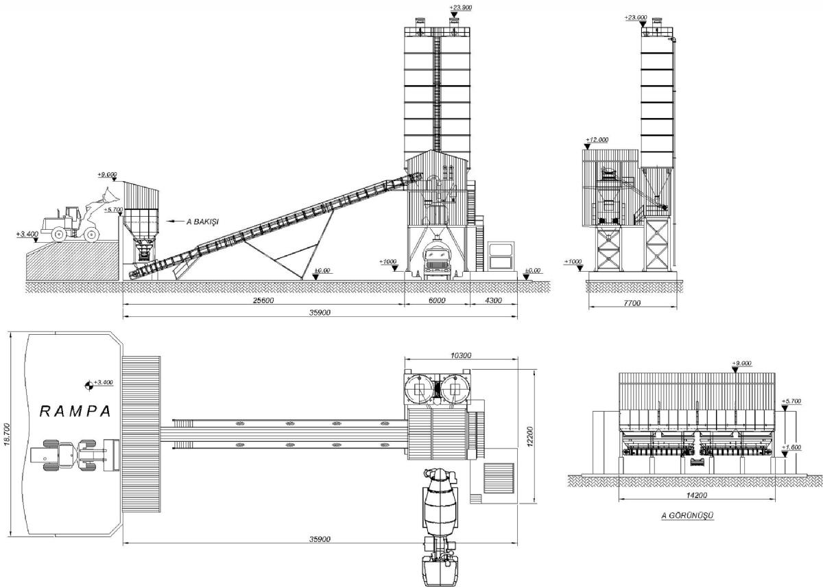 90 m³/h Sabit Beton Santrali Yerleşimi