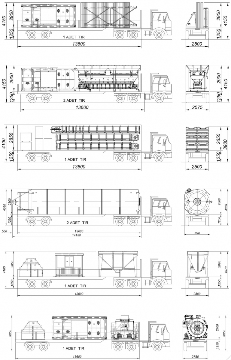 90 m³/h Sabit Beton Santrali Nakliye Şekli