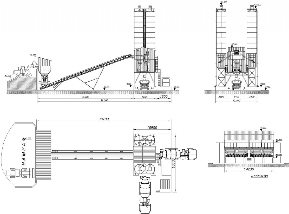 120 m³/h Sabit Beton Santrali Yerleşimi