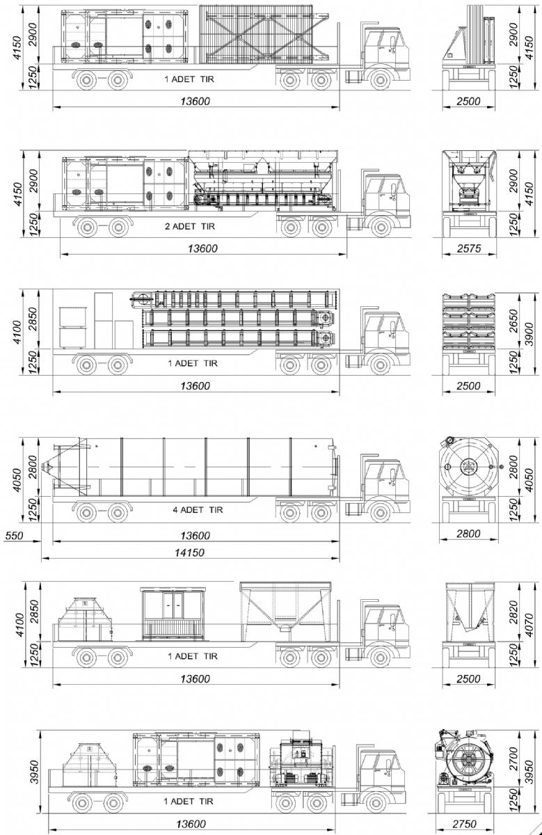 120 m³/h Sabit Beton Santrali Nakliye Şekli