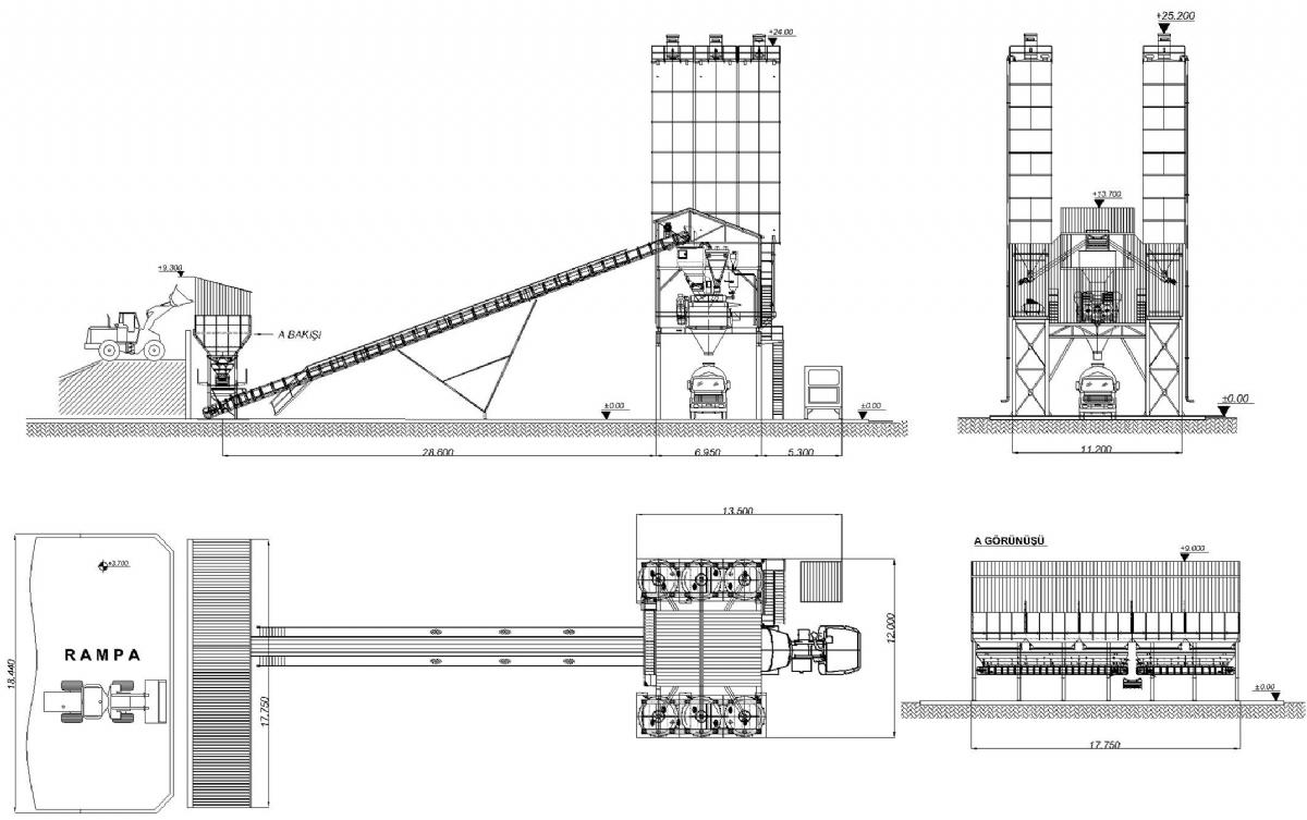 160 m³/h Sabit Beton Santrali Yerleşimi