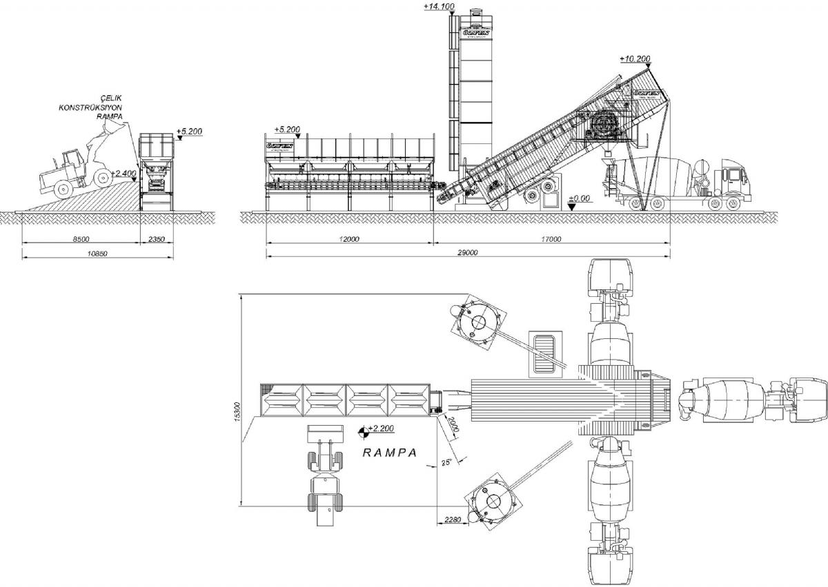 75 m³/h Mobil Beton Santrali Yerleşimi