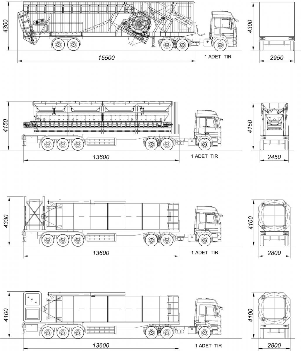 75 m³/h Mobil Beton Santrali Nakliye Şekli